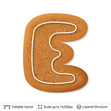 Gingerbread letter E isolated on white.