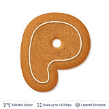 Gingerbread letter P isolated on white.