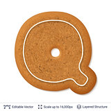 Gingerbread letter Q isolated on white.