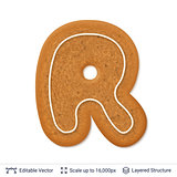 Gingerbread letter R isolated on white.