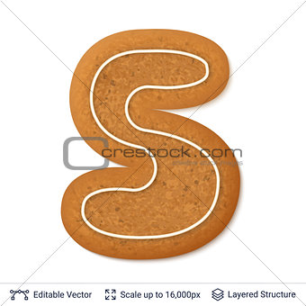 Gingerbread letter S isolated on white.