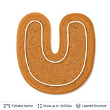 Gingerbread letter U isolated on white.