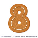 Gingerbread number isolated on white.