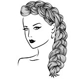 Woman with fluffy braid