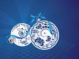 Blue Floral Christmas Ball