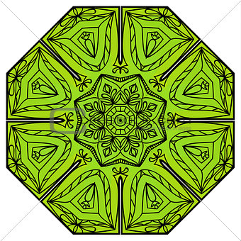 Green eight-pointed mandala
