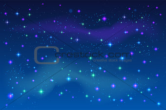 Bright stars in blue night sky