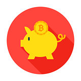 Bitcoin Piggy Circle Icon
