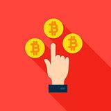 Hand Bitcoin Flat Icon