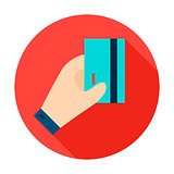 Hand Holding Card Circle Icon