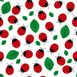 Ladybug with leaves seamless pattern