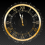 Gold New Year Clock on a transparent background Vector