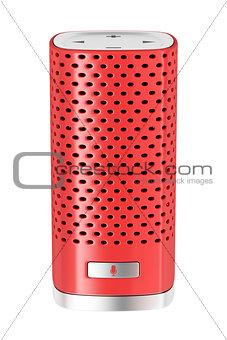 Red smart speaker isolated on white