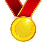 Golden medal with red ribbon
