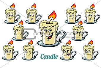 candle emotions emoticons set isolated on white background