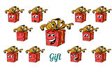 Gift box emotions emoticons set isolated on white background