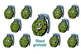 hand grenade emotions emoticons set isolated on white background