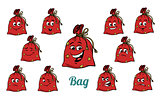 gift Christmas bag emotions emoticons set isolated on white back