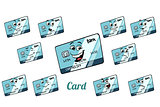 Bank card emotions emoticons set isolated on white background