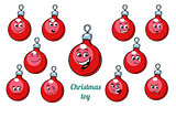 Christmas ball emotions emoticons set isolated on white backgrou