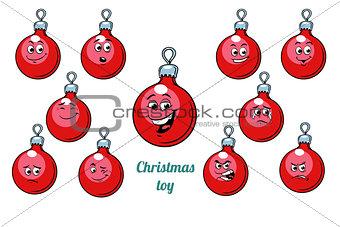 Christmas ball emotions emoticons set isolated on white backgrou