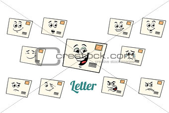 postal envelope letter emotions emoticons set isolated on white