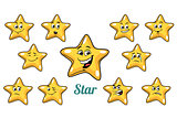 gold star emotions emoticons set isolated on white background