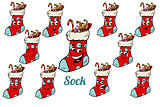 Christmas gift sock emotions emoticons set isolated on white bac