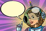 Science fiction woman astronaut hero