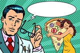 Doctor diet and woman with pizza