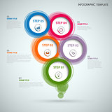 Info graphic with colorful abstract round speech bubbles
