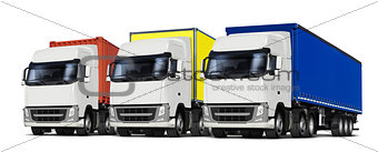 three trucks with various trailers