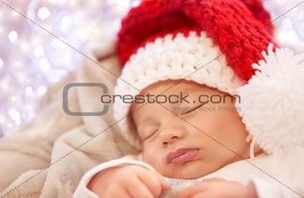 Little baby sleeping on Christmas