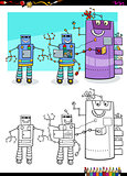 robots fantasy characters group coloring book