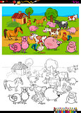 farm animals characters group coloring book