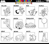 basic colors educational worksheet for coloring