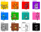 main colors cartoon educational set with robots