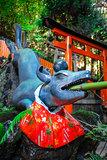 Fox purification fountain at Fushimi Inari Taisha, Kyoto, Japan