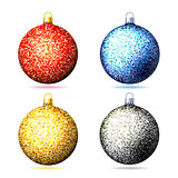Set of colored sparkling glitter Christmas balls .