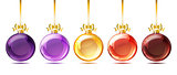 Set of bright glass christmas balls