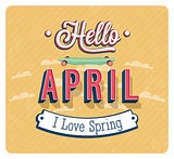 Hello april typographic design.