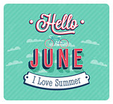 Hello june typographic design.