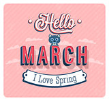 Hello march typographic design.