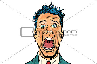 The man screams in horror isolated on white background