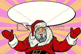 Promoter Santa Claus with comic bubble