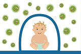 Vector Illustration of Baby Resisting Germs