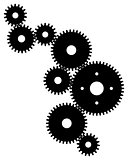 Set of black gears