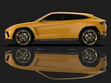 The newest sports all-wheel drive yellow premium crossover in a black studio with a reflective floor. 3d rendering.