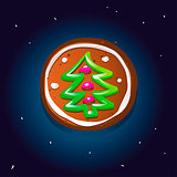 Cute gingerbread cookies for christmas with a Christmas tree. Night sky background. Vector illustration