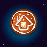 Cute gingerbread cookies for christmas with a winter house. Night sky background. Vector illustration
